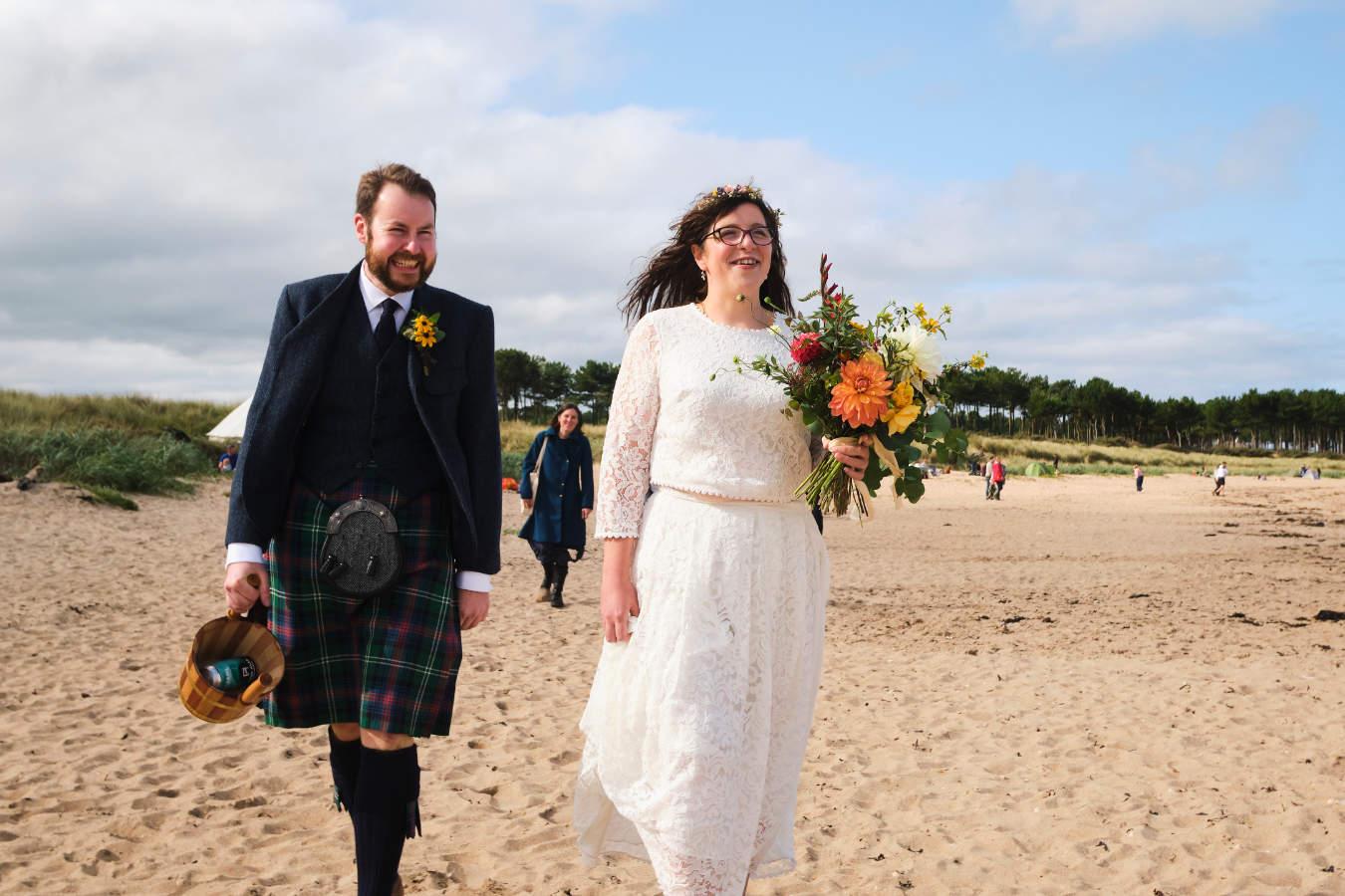 Image showing micro-wedding taking place at Yellowcraig Beach