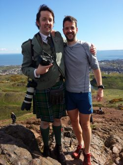 Once, the groom of a wedding I was shooting had a pre-wedding run UP ARTHUR'S SEAT (that's him in the little blue shorts there) so I went up ahead of him to get some shots of that. I went in my kilt. And forgot my beard by the looks of it.